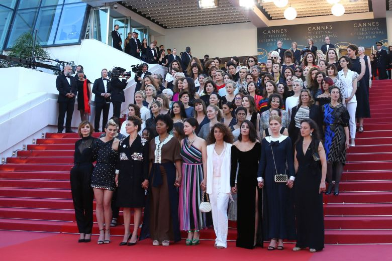 Female stars at the Cannes film festival protest on red carpet for equal rights